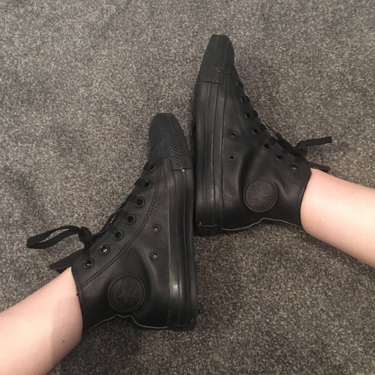 Black leather converse hightops #office