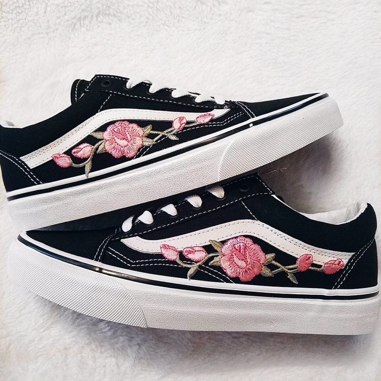 look for bright in luster best Pink Rose Embroidered Old Skool Vans •NWT •old... - Depop