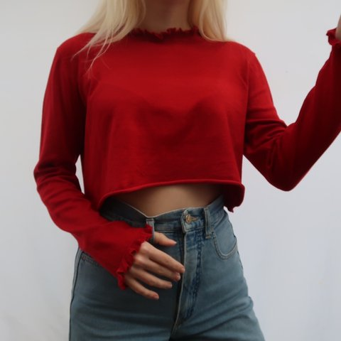 aab487c425d70 Red frill cropped long sleeve crop top🐙🐙🐙 Women s size 12 - Depop
