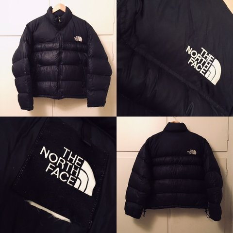 0e10abac98 Vintage black the north face tnf nuptse puffer down jacket M - Depop