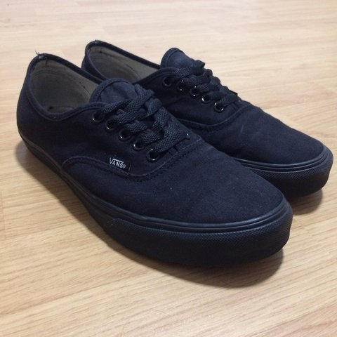 7ae061c320cf Vans Authentic all black shoes Size UK 8 Barely worn so in - Depop