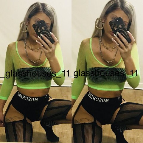 bffcfa889ee NEON GREEN FISHNET CROP TOP AND NEON EXTREME CROP YOU GET - Depop