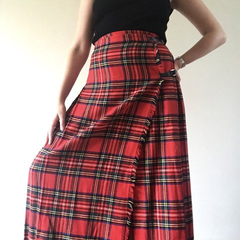 835c7bdc57 @chloedurant. 9 months ago. United Kingdom. The most incredible vintage  tartan maxi skirt. Leather buckles and pleated back.