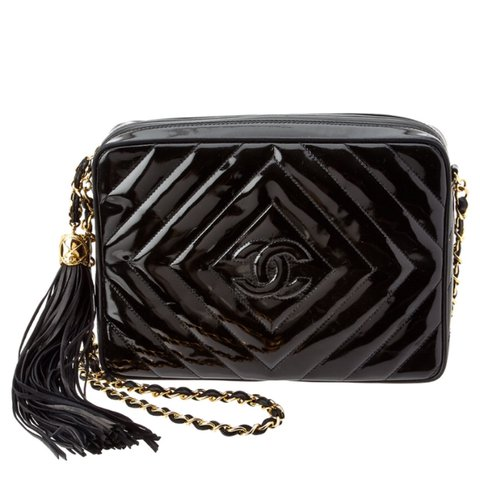 36dd7cd0c49b @csarali. 2 years ago. Los Angeles, United States. Authentic Chanel Classic  Vintage Black Patent Leather camera Tassel Bag.
