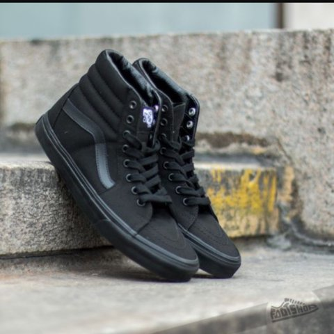 6088cc8d55 The classic Sk8-Hi silhouette from Vans in all black. canvas - Depop
