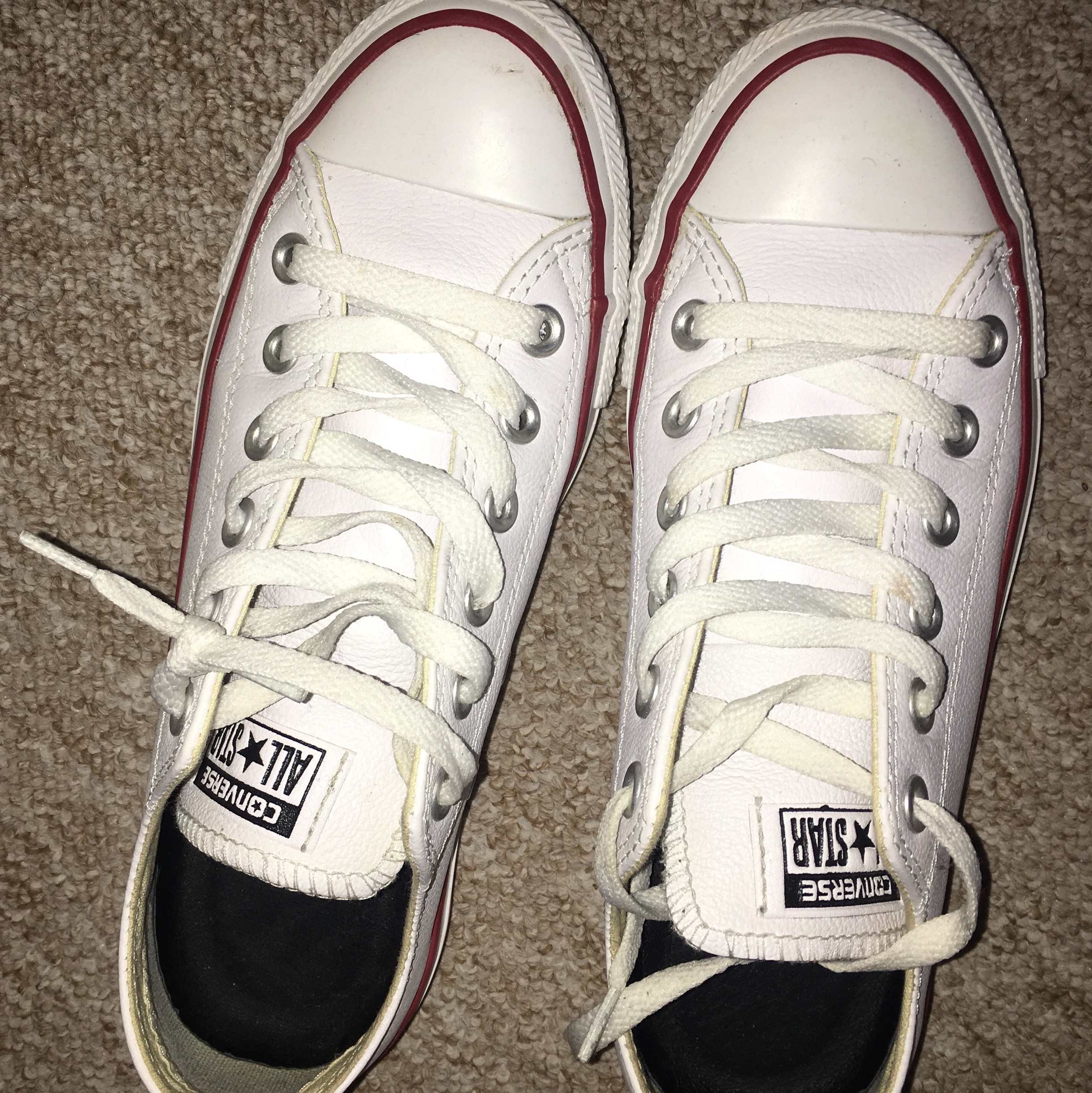Size 5 Converse white leather trainers with Depop