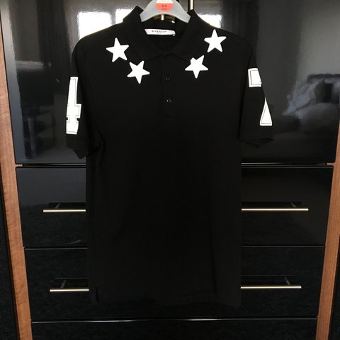 9153cad9 Givenchy Star Polo (Black/White) - Size Small - Perfect - Depop