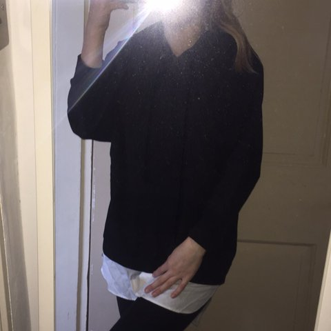 Amazing oversized black jumper with hood 3a025453e