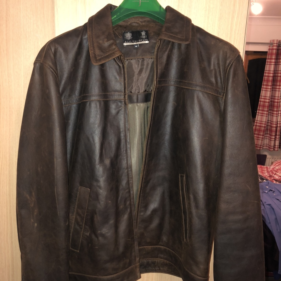 Austin Reed Brown Leather Jacket Medium The Depop