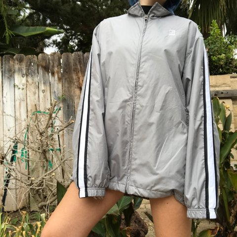 light grey nike windbreaker with white stripes with black to - Depop f2b54d29a