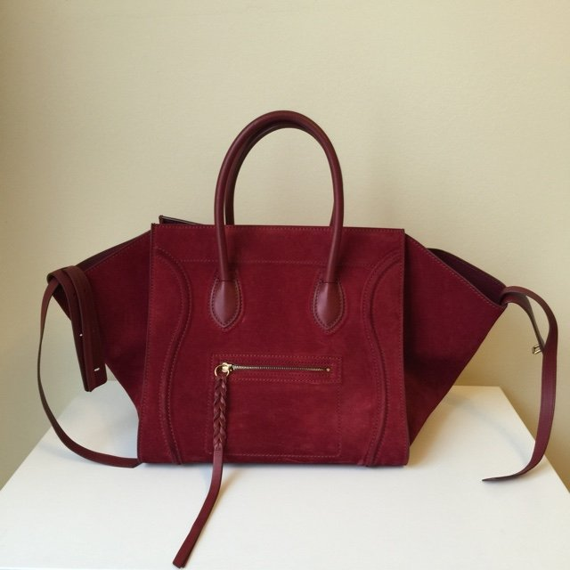 5ab37c79eac4 Celine small phantom luggage bag in maroon red suede suede x - Depop