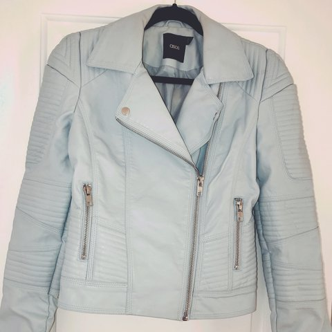 6c340fbe8 Baby Blue faux leather biker jacket from ASOS. Love this but - Depop