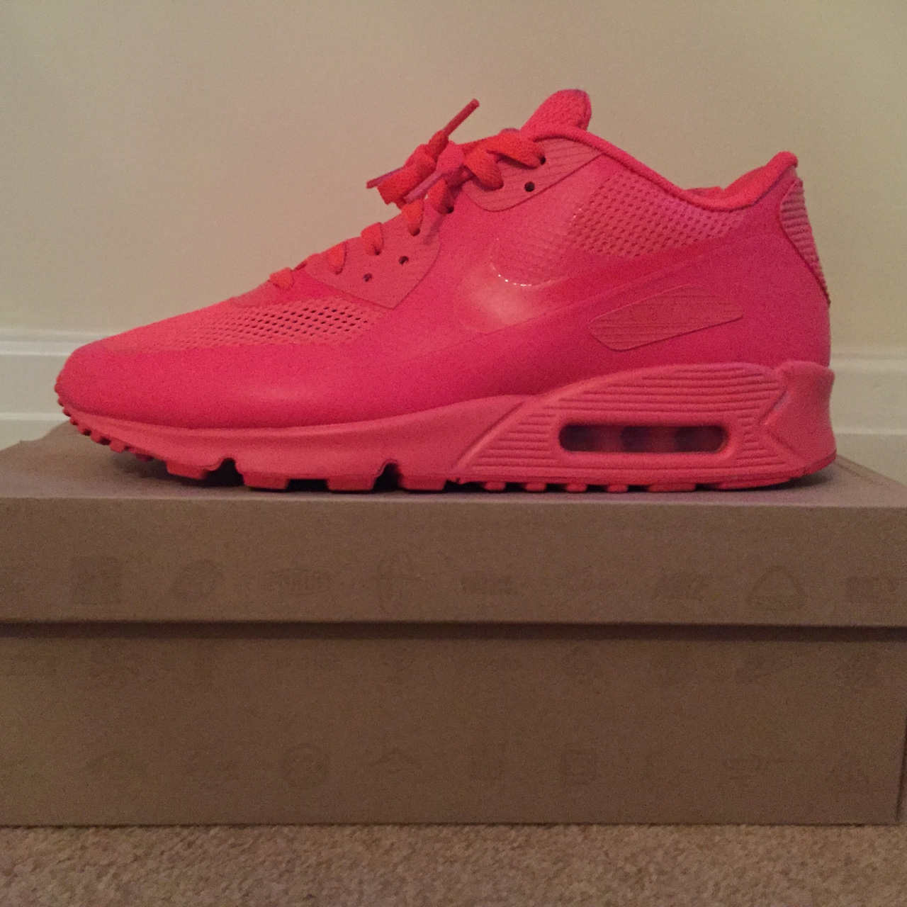 Nike Airmax 90 Hyperfuse Solar Red. UK 9. 9.510 Depop
