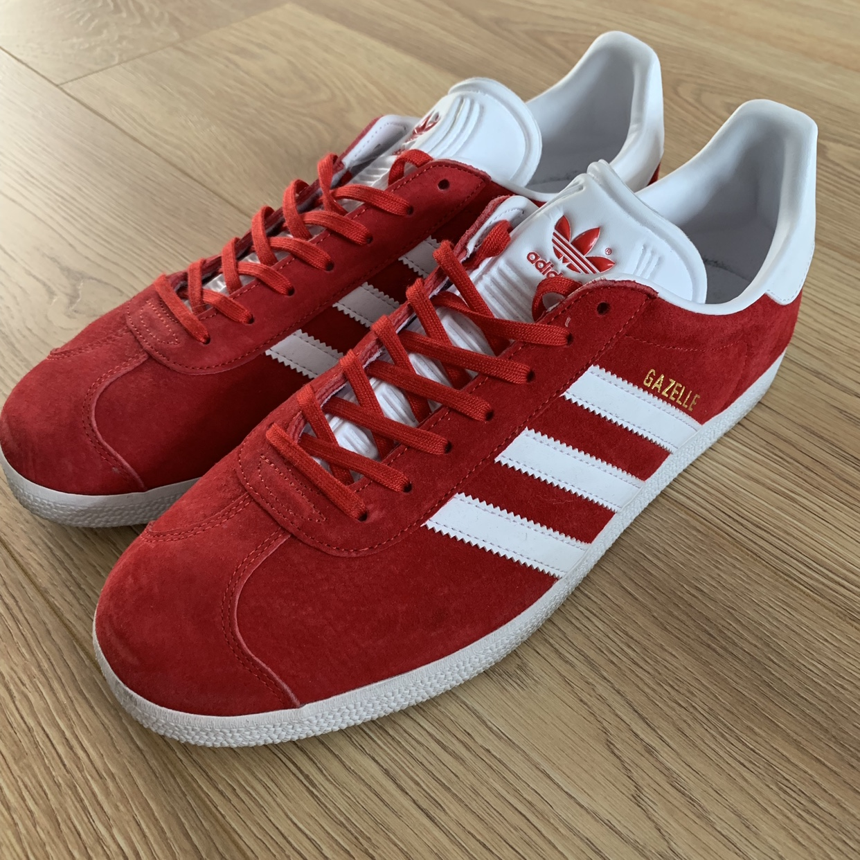 Red Adidas Gazelle trainers, UK size 10, excellent...