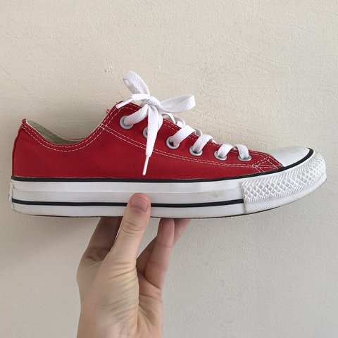5fb526d53fe2 Red low cut top red canvas converse all star chuck taylor. . - Depop