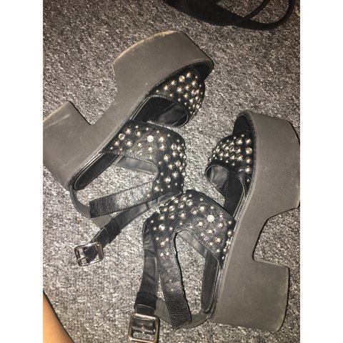 80cb2de1e85d Beaded tabloid studded chunky cut out sandals ASOS Size 5 - Depop