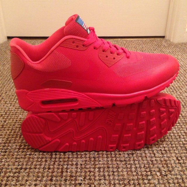 f15cb3cd398e Red Nike Air Max 90 Hyperfuse Independence Day Size 10 - are - Depop