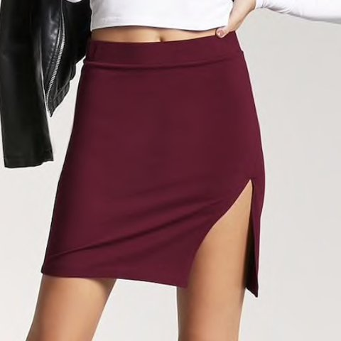199eaac20934 Fab sexy burgundy/ purple skirt with slit • Size M but also - Depop