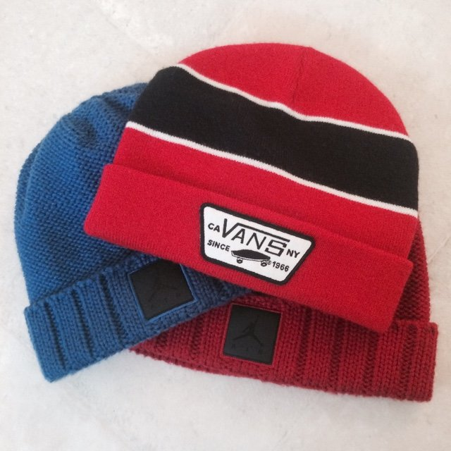 3 different beanies for sale. Red and blue jordan beanies. 1 - Depop c9650f27c77c