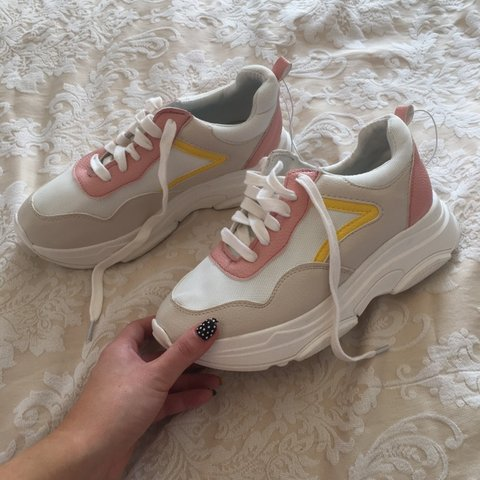 97b3eaec8753b Ladies brand new with tags size UK 5 chunky white trainers - Depop