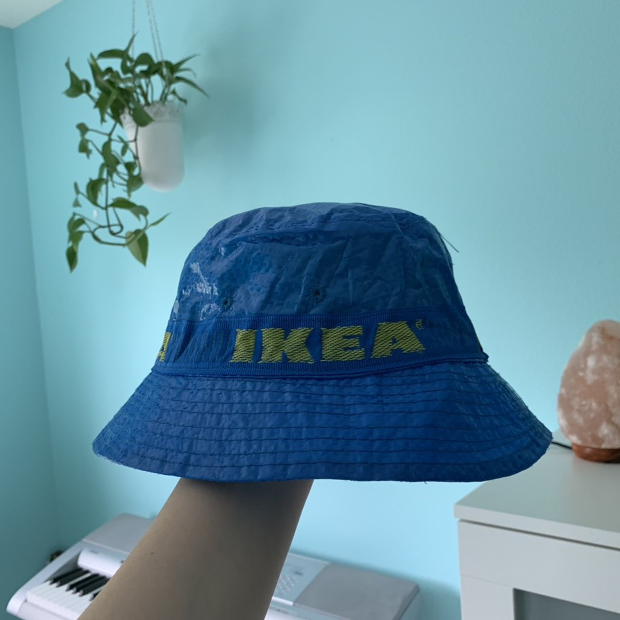 Ikea Bucket Hat Made By Ikea Blue Hat With Yellow Depop