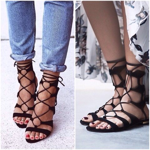 363a739f1818 👠Forever 21 Brown Faux Suede Lace-up Gladiator Sandals💋 in - Depop