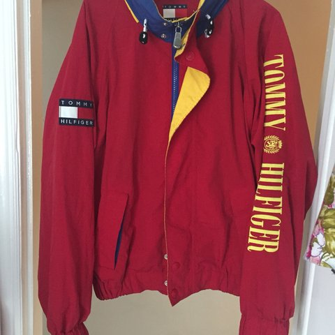 c4e90d12 @amritthind. 8 months ago. Birmingham, United Kingdom. Vintage Red Tommy  Hilfiger Sailing Jacket, with big yellow ...