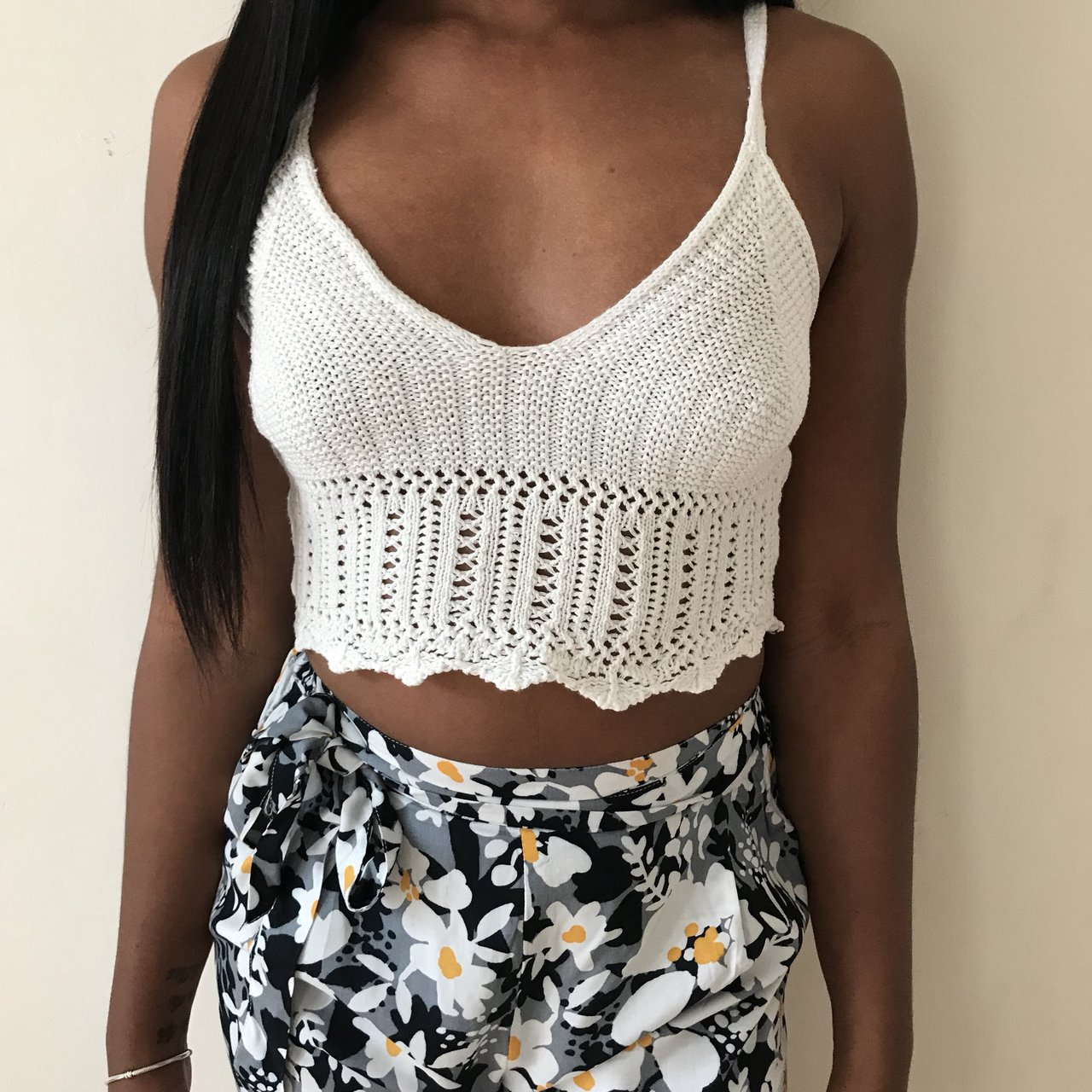 dcd89f429774e0 Missguided white crochet knitted bralet in Small which is a - Depop