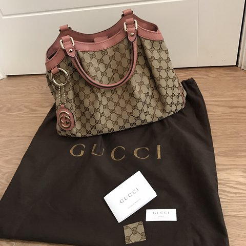 cd6ca002d17f 100% Authentic Gucci medium Sukey tote with pink leather and - Depop
