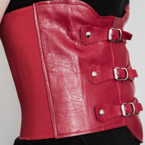 5069ac0069 Red gothic faux leather underbust corset. Size S but it will - Depop