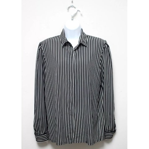 1e83cba4aaace5 Vintage 80s La Chine Classic Black and White Striped Button - Depop