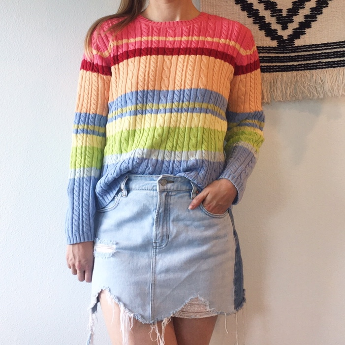 Vintage Bright Rainbow Striped Cable Knit by Depop