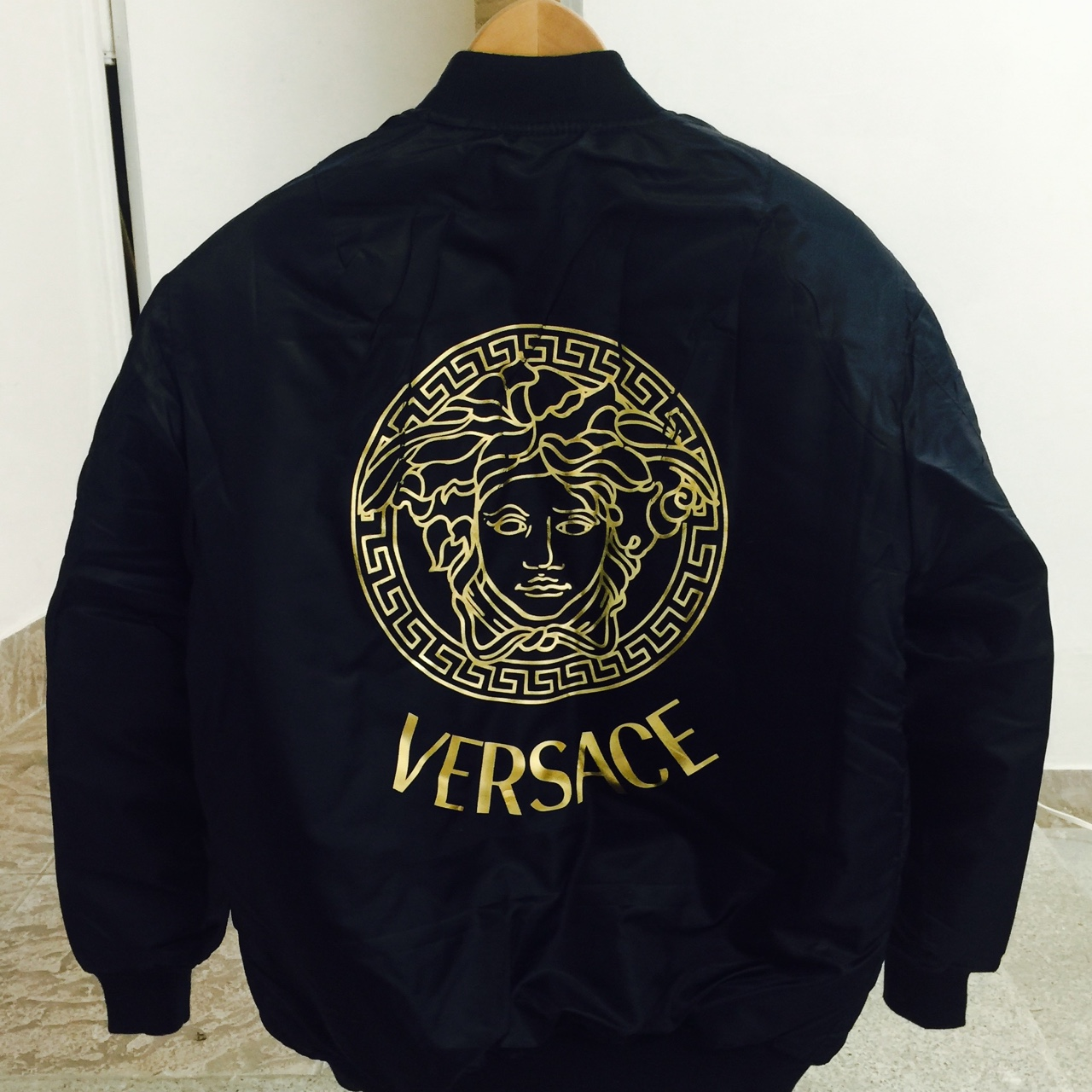 61ddbf6003 Versace Bomber Jacket in blue . . Mens Size Small - Depop