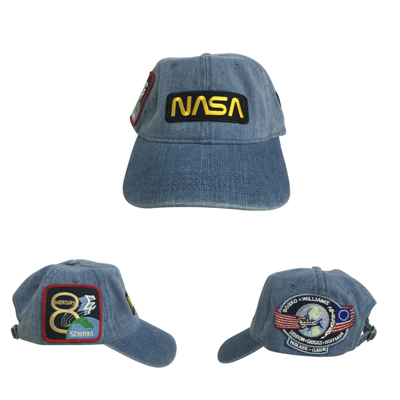87647474d Denim Nasa Patch Hat . 3 Patches . one in the front... - Depop