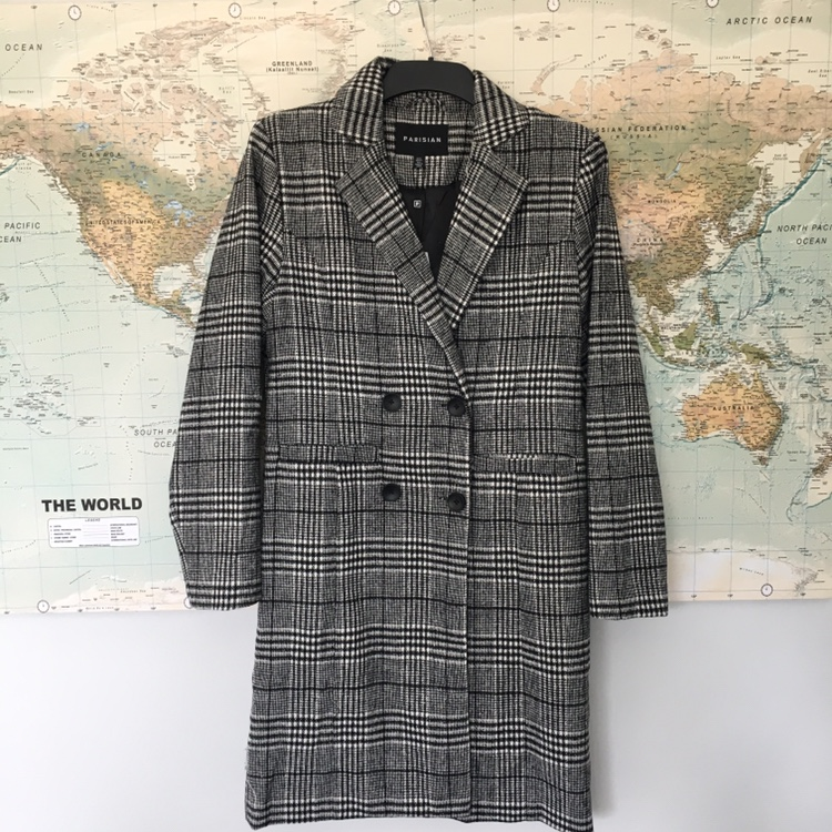 Brand New Check Long Double Breasted Coat With Front by Depop