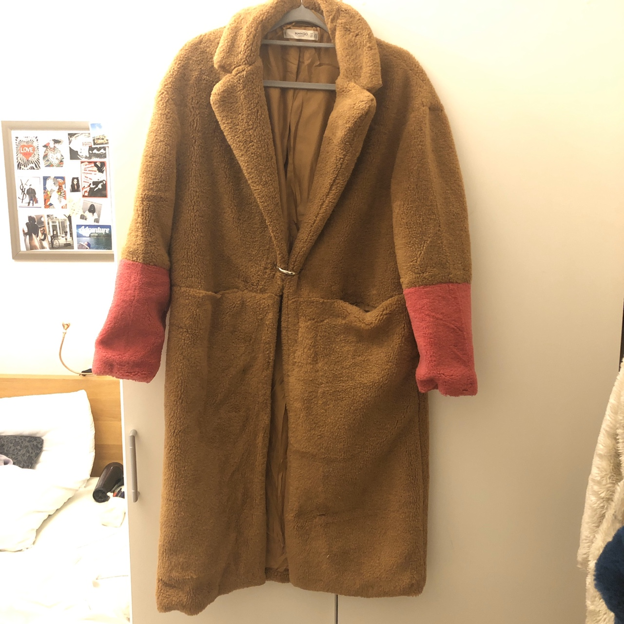 Mango Borg Teddy Coat In Camel Woth Pink Detail On by Depop