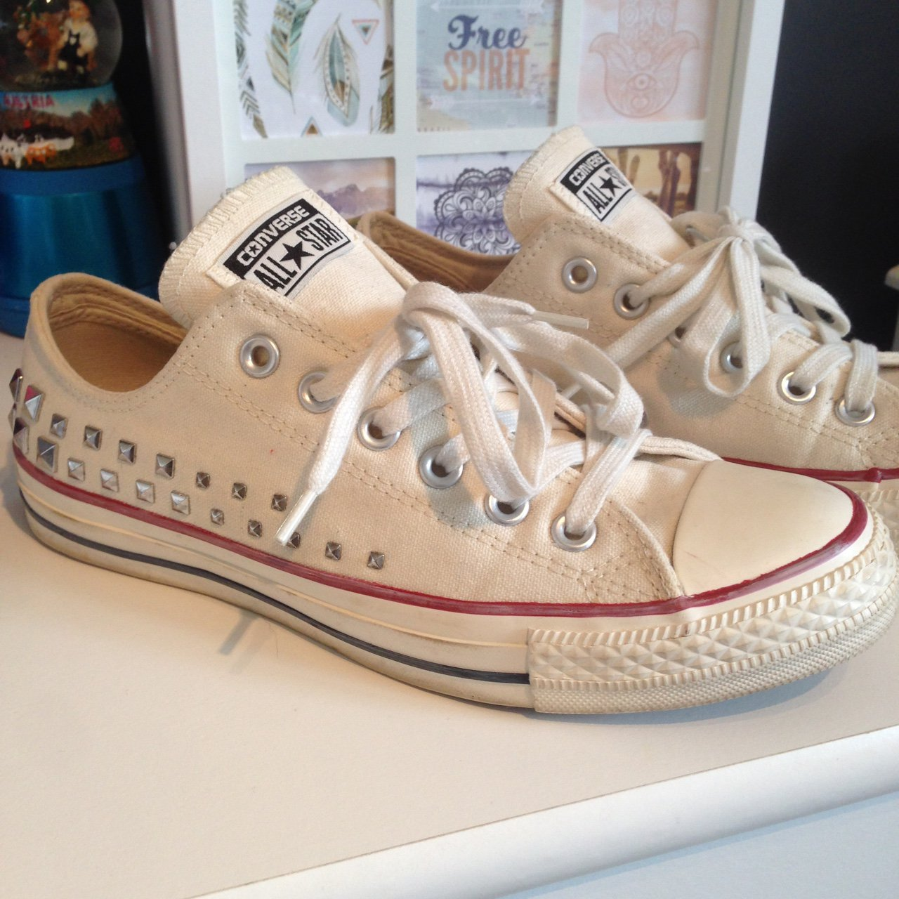 dc68552868b1 Off white studded Converse size 6. Worn once. Small mark in - Depop