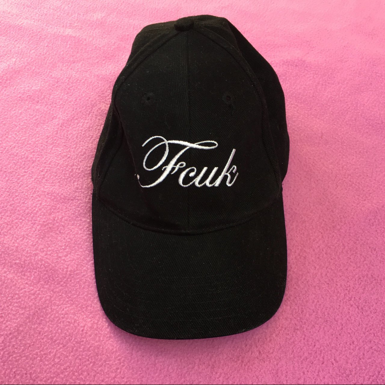 7044023114f French connection UK black cap ~ fcuk logo on front ~ - Depop