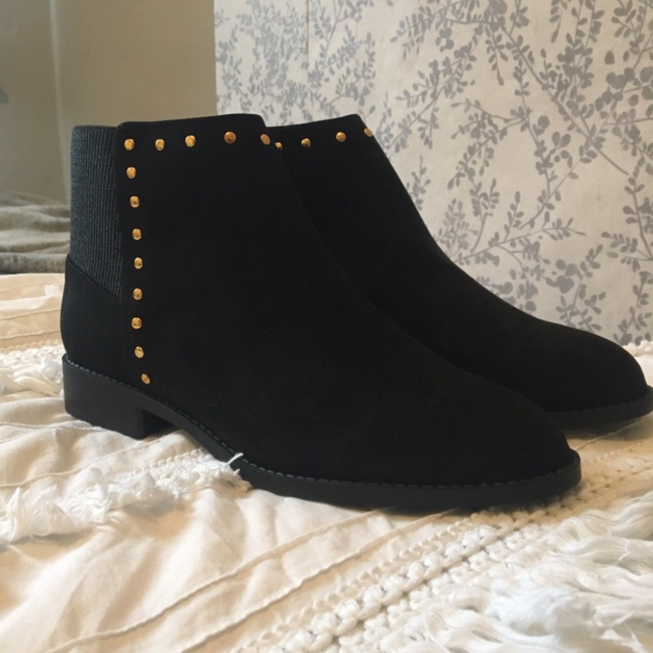 9b3facd5e02 Faith black Chelsea boots (suede) with studded detail unworn - Depop