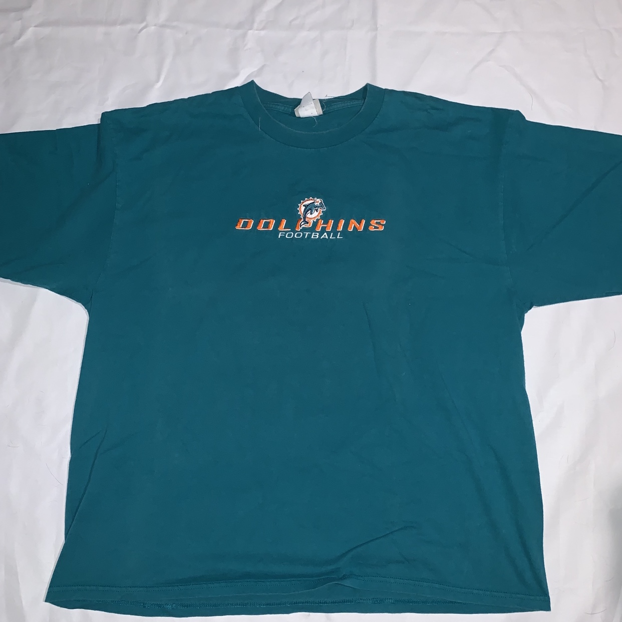 f51a91b4 Vintage Miami Dolphins Football Shirt Embroidered... - Depop
