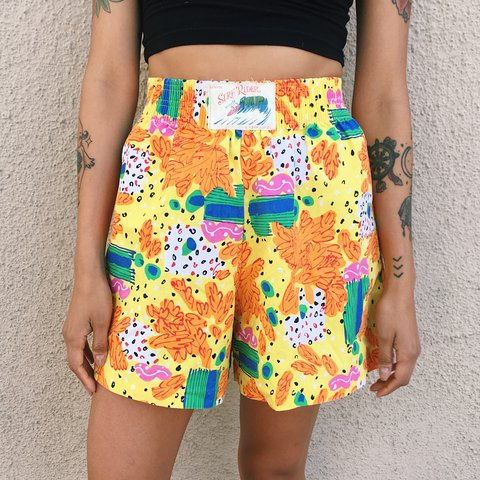 238cef1dca 🌴Vintage Abstract Multicolor Tropic Shorts, made by Surf & - Depop