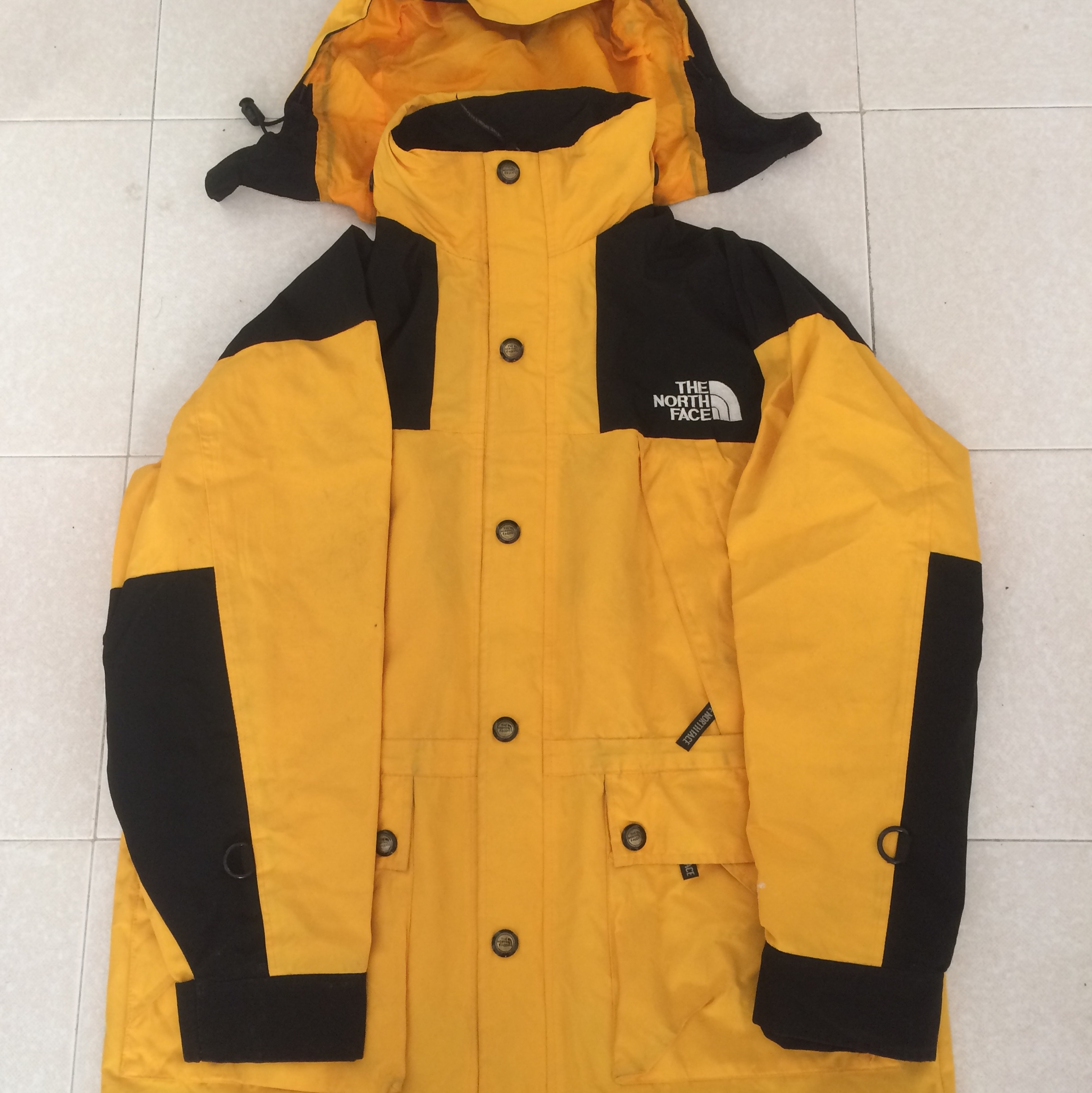 66cea42ce Vintage The North Face Gore Tex Jacket Yellow/Black... - Depop