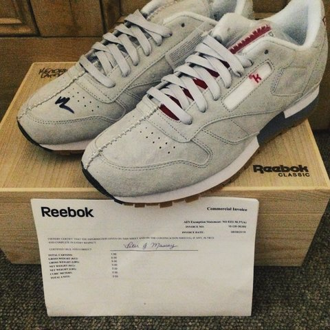 79f4a667e5fb Signed Reebok x Kendrick Lamar    Classic Leather    Size UK - Depop