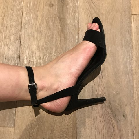 8ec6b00a0a New look black strappy heels sandals. Good height not too So - Depop