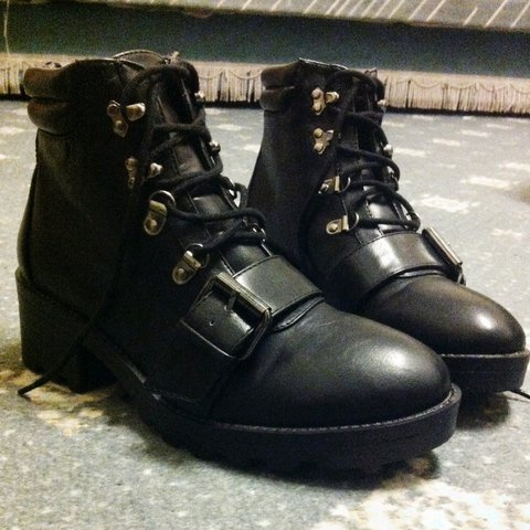 3e7ec583f3f3b Topshop military boots lace up with buckle detailing on the - Depop