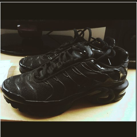 e70ce57bdd0 Black TN tuned nike trainers. UK Size 3.5. I bought them a I - Depop