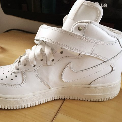 72d682bf2db Nike Air Force 1 in white. UK Size 3. High top AF1. Good  tn - Depop