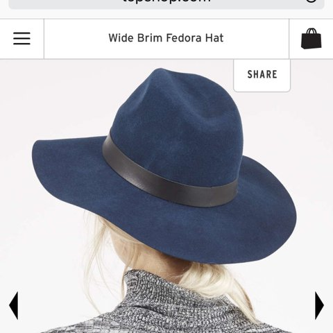 1234d4160da Topshop navy blue wool fedora hat with wide brim and PU band - Depop