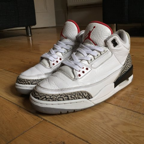d3ab261f768763 Jordan 3 white cement uk 8. Worn but well looked after. on a - Depop