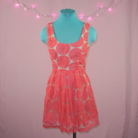 aced2bc92b6 Sundress with neon pink flower overlay Never worn Size 5 - Depop